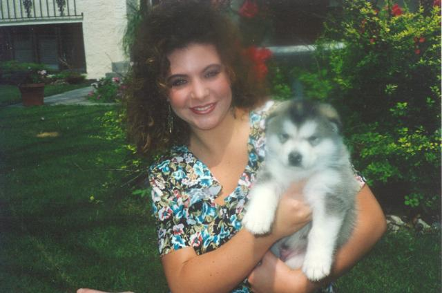 Andrea with Baby Snokins at age 8 weeks in January of 1990.